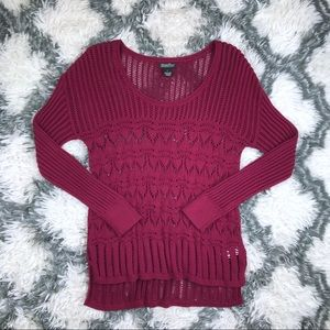 Lucky Brand Women's Knit Sweater Large Maroon